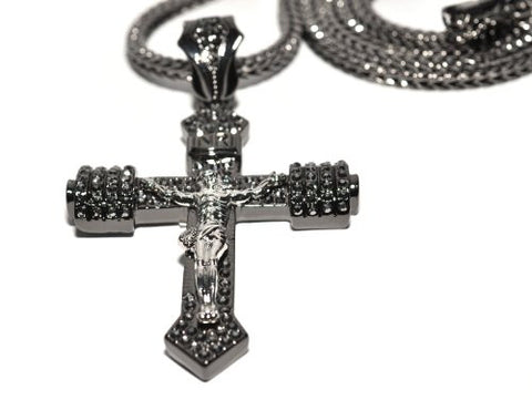 NYFASHION101 Iced Out Crucifixion Cross Pendant 4mm 36 Franco Chain Necklace Silver-Tone//Hematite-Tone
