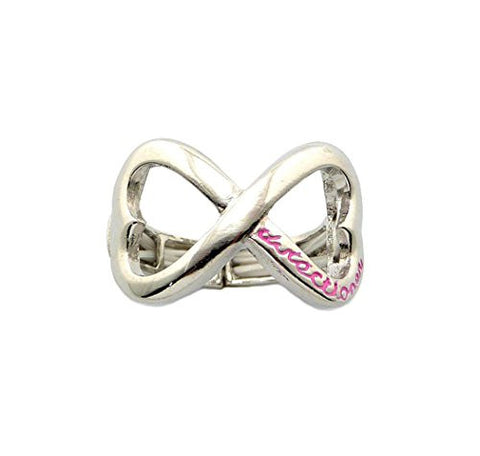 Heart Shape Infinity Loop Directioner® Fans Stretch Ring in Pink/Silver-Tone XR35RPK