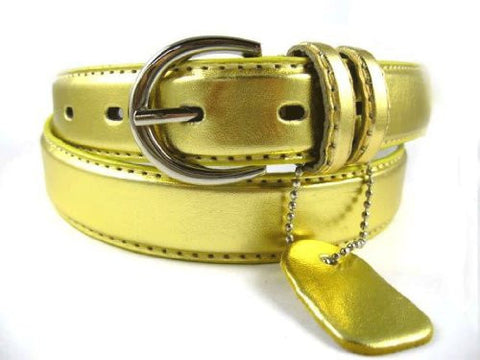 NEW Ladies Basic Trendy Faux Leather Thin Belt Gold