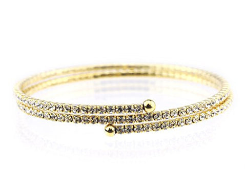 2 Row Clear Swarovski Elements Flex Wrap Bracelet