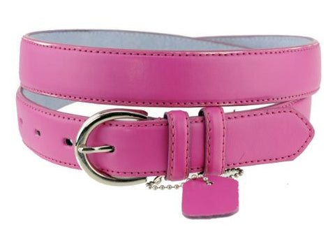 Nyfashion101 Women's Basic Leather Dressy Belt w/ Round Buckle H001-Pink-S