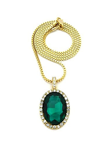 "Hip Hop Micro Oval Faux Emerald Stone Pendant 2mm 24"" Box Chain Necklace in Gold-Tone"