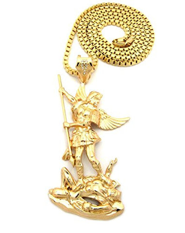 "The Archangel Michael Pendant 4mm 36"" Box Chain Necklace in Gold-Tone"