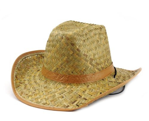 NYfashion101 Natural Straw Cowboy/Cowgirl Hat w/ Solid Color Band & Chin Strap
