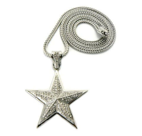 "Iced Out 3D Star Pendant in Silver Tone w/ 36"" Franco Chain GAP13R"
