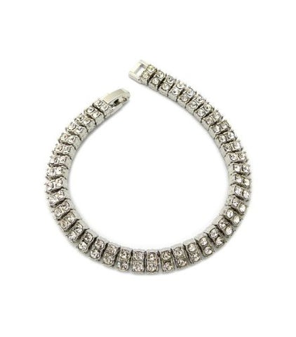 "Iced Out 2 Row Rhinestone Bracelet 8.25"" with Metal Clasp - Silver-Tone"
