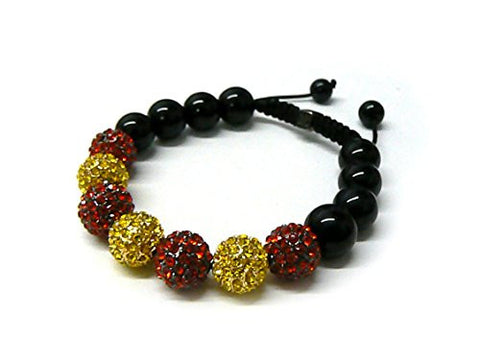 Black/Red/Yellow Rhinestone Ball Faux Onyx Adjustable Bracelet