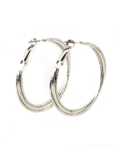 High Quality Hypo-Allergenic 50mm Triple-Ring Hoop Earrings in Silver-Tone MADE IN USA-M