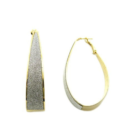Shimmer Elliptical Hoop Earrings in Silver/Gold-Tone