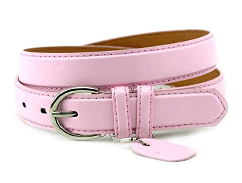 Nyfashion101 Women's Basic Leather Dressy Belt w/ Round Buckle H001 (M, Light Pink)