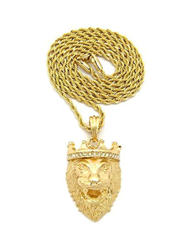 "Stone Stud Crown King Lion Head Pendant w/ 2mm 24"" Rope Chain Necklace in Gold-Tone"