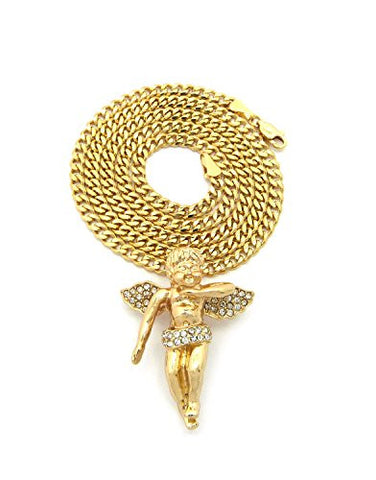 "Stone Studded Floating Angel Pendant 3mm 24"" Concave Cuban Chain Necklace in Gold-Tone"