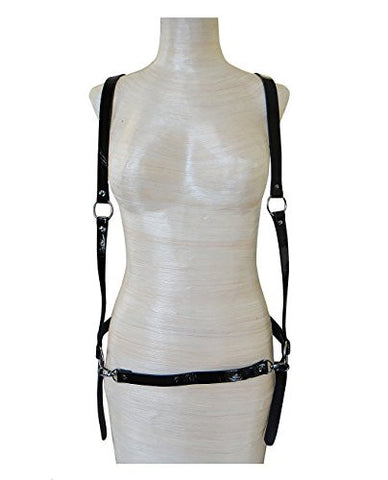 Front Shoulder Straps Back Y Strand Waist Belt Faux Leather Body Chain Body Accesssory