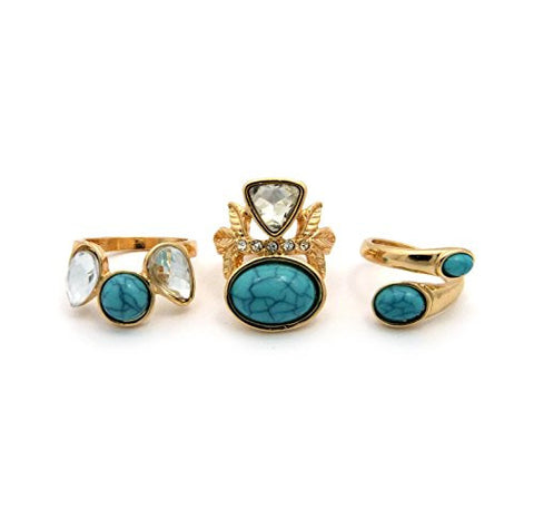 3 Piece Turquoise Marble & Clear Stone Stud Midi Ring Set
