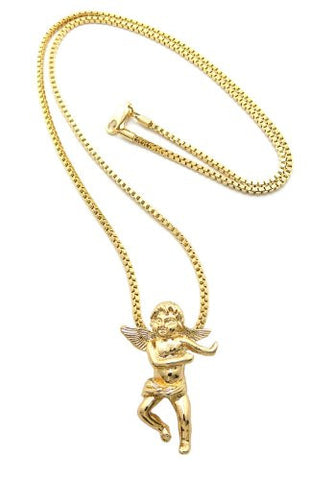 "Gold Tone Flying Angel Cherub Micro Pendant 2mm 30"" Box Chain MMP4GBX"