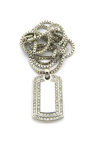 "Rhinestone Dog Tag Pendant w/ 2mm 24"" Box Chain"