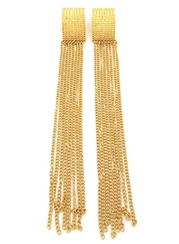 "Extra Long 7.25"" Dangling Chain Drop Earrings in Gold-Tone"