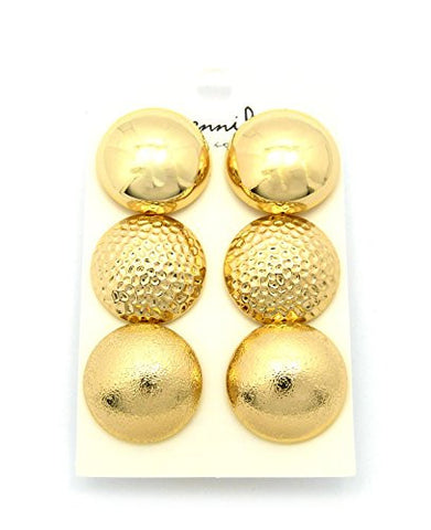 Multi-Style Half Ball Fashion Stud Earrings 3 Piece Set in Gold Tone JE1029GD