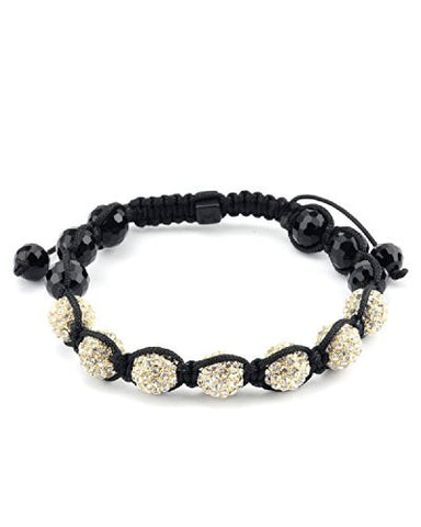 Gold Encrusted Beads w/ Faux Glass Bead Tails Shamballa Bracelet