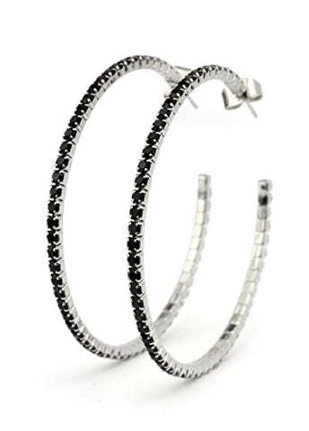 Red Swarovski Elements 45mm Flex Hoop Earrings in Silver-Tone MADE IN KOREA IKE1001RD