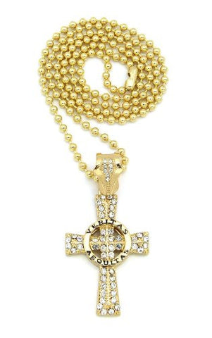 "Iced Out Gold Tone Veritas Aequitas Cross Pendant w/ 3mm 27"" Ball Chain BXZ80G"