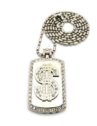 "Dollar Sign Pave Dog Tag Cigar Lighter Pendant with 3.5mm 36"" Sausage Chain - Silver-Tone"