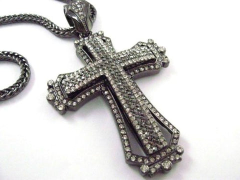 "Iced Out Stone Pave Cross Pendant w/Bk 36"" Franco Chain"