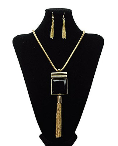 "Gold-Tone Faceted Black Square Stone Drop Chain Necklace and Earring Set w/ 5mm 24"" Snake Chain"