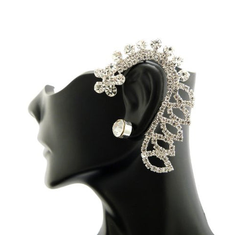 Flower Design Rhinestone Ear Cuff with Stud Earring in Silver-Tone