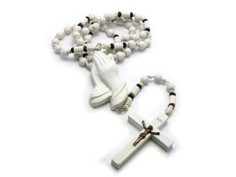 NYFASHION101 3D Jesus Face and Crucifix Cross Pendant Wood Rosary Necklace