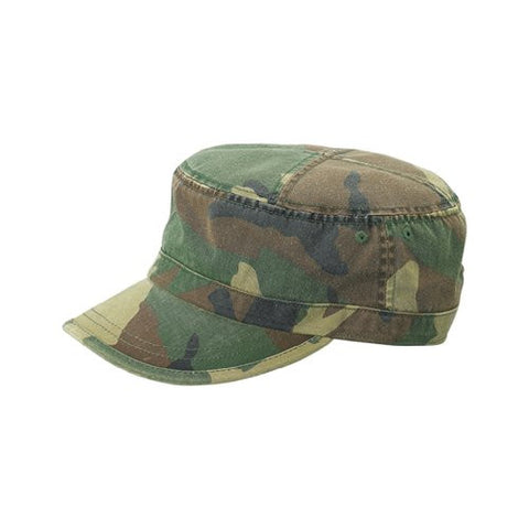 Enzyme Washed Camouflage Cade Military Cap