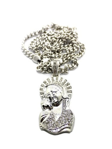 "Saint Mary and Christ Jesus Pendant in Silver Tone w/ 36"" Cuban Chain CP99R"
