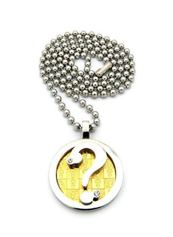 Two tone male gender print question mark pendant necklace with 3mm two tone male gender print question mark pendant necklace with 3mm 24 stainless steel ball aloadofball Image collections