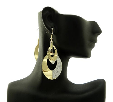 Shimmer Ring Drop Earrigns in Silver/Gold-Tone