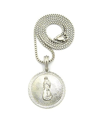 "Embellished Saint Mary Medal Pendant w/ 2mm 24"" Box Chain Necklace in Silver-Tone"
