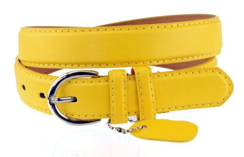Nyfashion101 Women's Basic Leather Dressy Belt w/ Round Buckle H001-Sunset Yellow-L