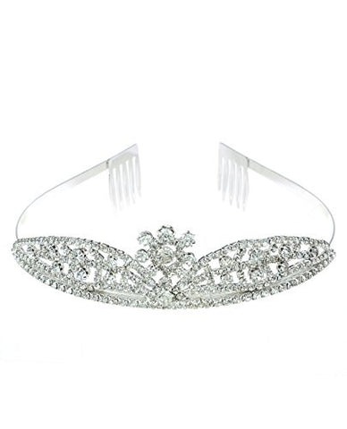 NYfashion101 Rhinestone Studded Center Floral Crown Tiara NHTY3313SCLY