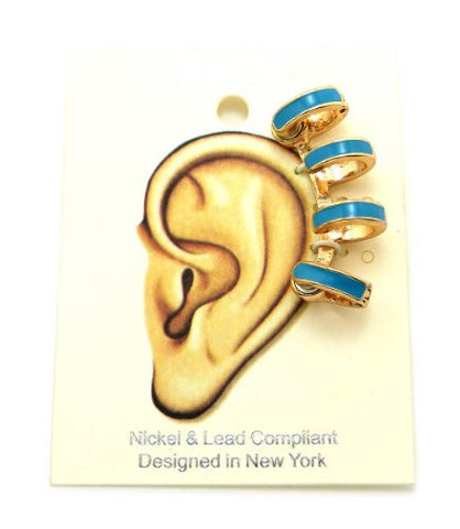 Blue Accent Magnetic 4 Ring Ear Cuff in Gold-Tone
