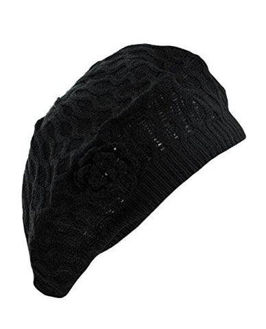 NYfashion101 Open Weaved Vented Black Beret w/ Knitted Flower Accent