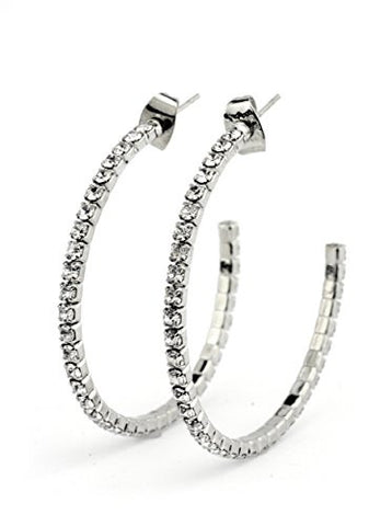 Clear Swarovski Elements 35mm Flex Hoop Earrings in Silver-Tone MADE IN KOREA IKE1000CL