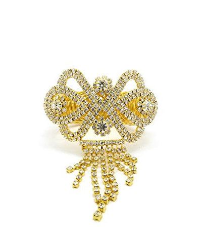 Butterfly Pattern Rhinestone Pave Arm Band, Ankle Cuff, Bracelet Fashion Jewelry in Gold-Tone
