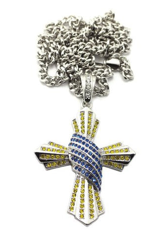 "Yellow/Blue Pave Cross Pendant in Silver Tone w/ 36"" Cuban Chain CP97RBLYL"
