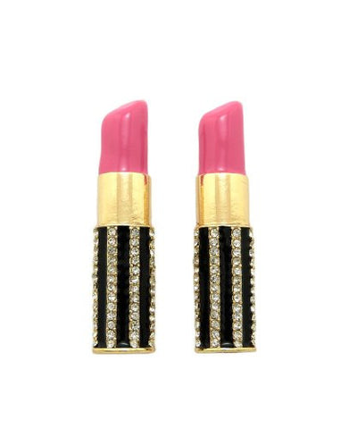 Pink Rhinestone Stripe Lipstick Earrings in Gold-Tone
