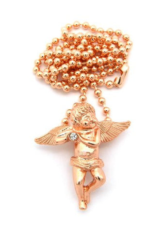 Baby Angel Cherub Studded Micro Pendant w/ Ball Chain - Rose Gold Tone