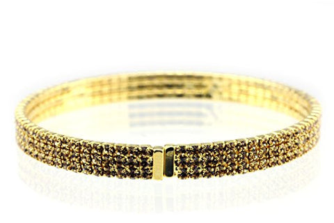 Elegant 3 Row Fancy Yellow Swarovski Elements Flex Bracelet - Gold-Tone MADE IN KOREA IKB1003GB