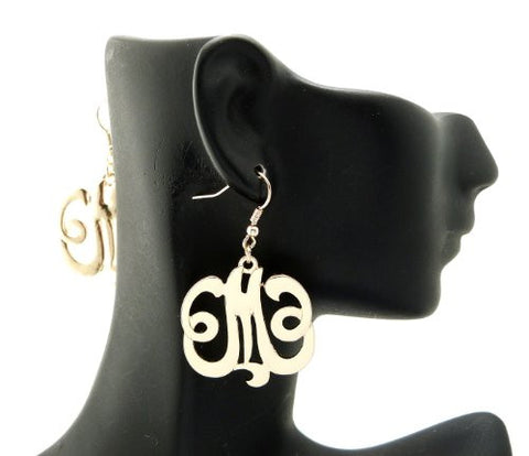 Initial Letter M Celebrity Style Monogram Earrings in Gold-Tone