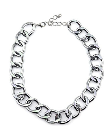 Simple Metal Link Chain Necklace in Hematite-Tone INC3023H