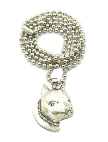 "Unisex Silver Tone Pitbull Micro Pendant 3mm 27"" Ball Chain Necklace MMP7R"