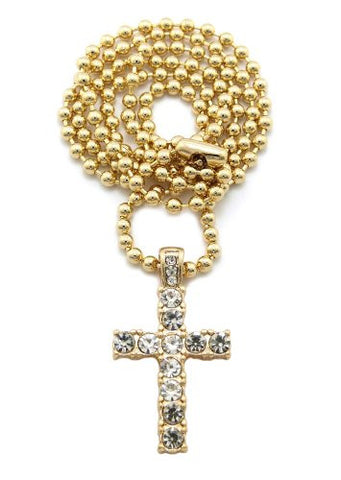 "Mini Pave Cross Pendant 27"" Ball Chain Necklace in Gold-Tone MMP14G"