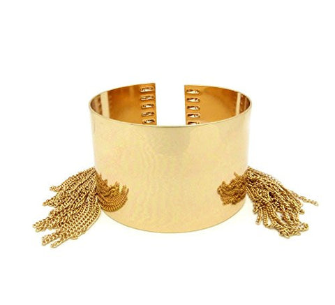 Solid Polished Arm Bangle Cuff Band w/ Chain Tassels in Gold-Tone
